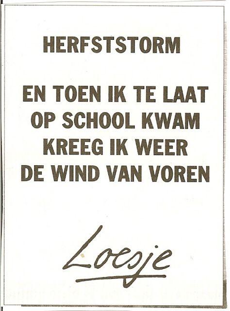 """""""Herfststorm. En toen ik te laat op school kwam kreeg ik weer de wind van voren."""" - Loesje"""