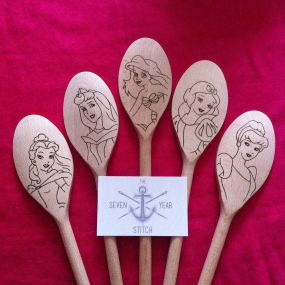 **PLEASE READ THE FULL DESCRIPTION BEFORE ORDERING!** Disney Princess Utensil Set  Set of 5 wooden utensils.  As each set is hand burnt and