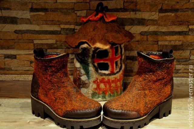 """Купить Валяные БОХО - боты """" Бронза """" - обувь ручной работы, бохо"""
