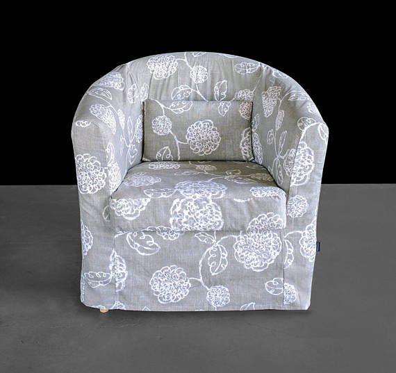 Custom Gray Linen Flower Floral IKEA TULLSTA Chair Slip Cover