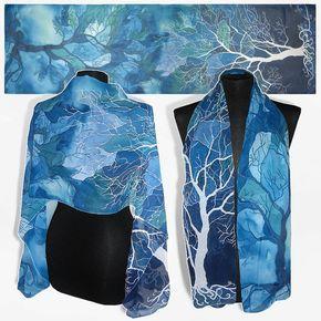 Sciarpa di seta lungo 'alberi in blu' mano sciarpe di MinkuLUL