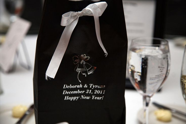 Wedding favor at a New Year's Eve wedding.