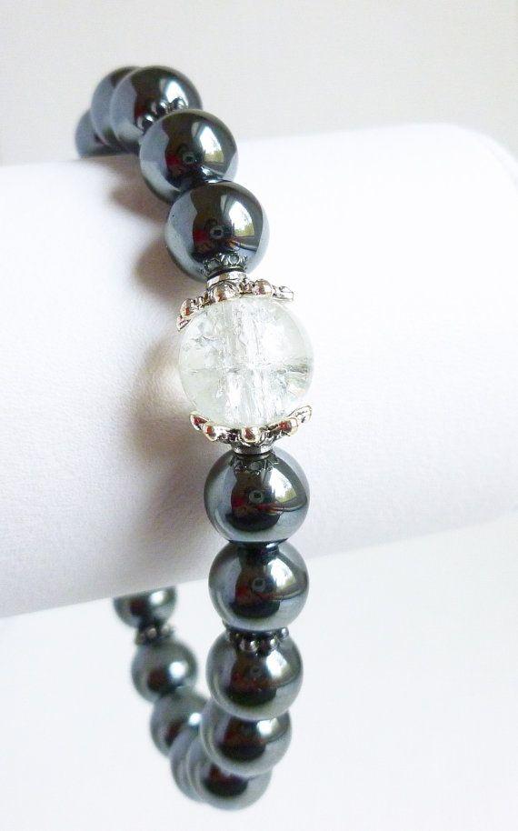 Black bracelet, black hemalyke, crackle bead, stretchy cord