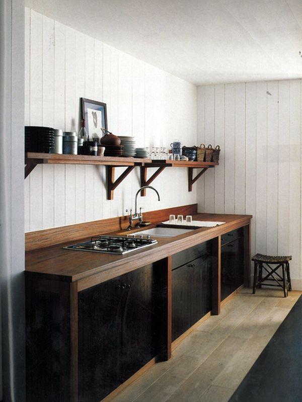 black + wood + white walls