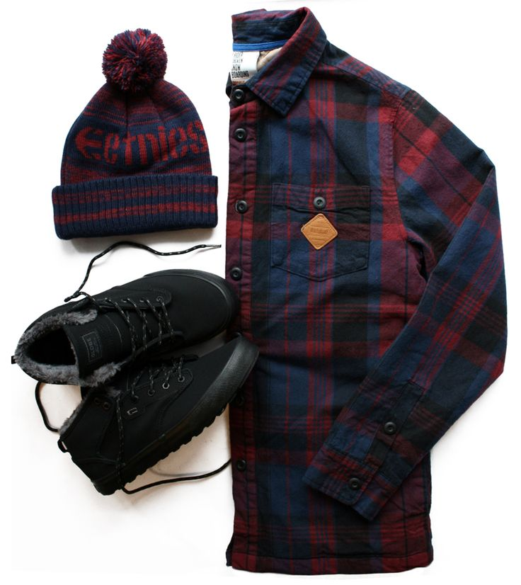 Outfit Combo Shoes Globe Motey Mid Black/Black Fur, caciula Etnies Arena Pom Burgundy, Camasa Thirty Two Jaycobs Insulated Flannel Navy #Etnies #Globe #ThirtyTwo