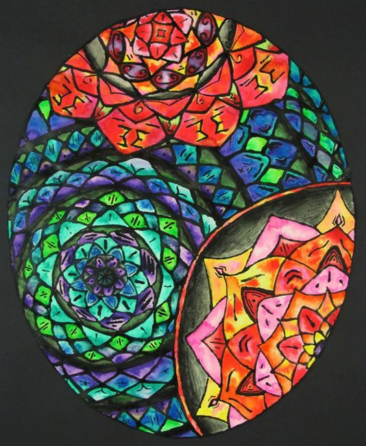 Stained Glass Design w/ Black Glue & Liquid Watercolor - Conway High School Art Project