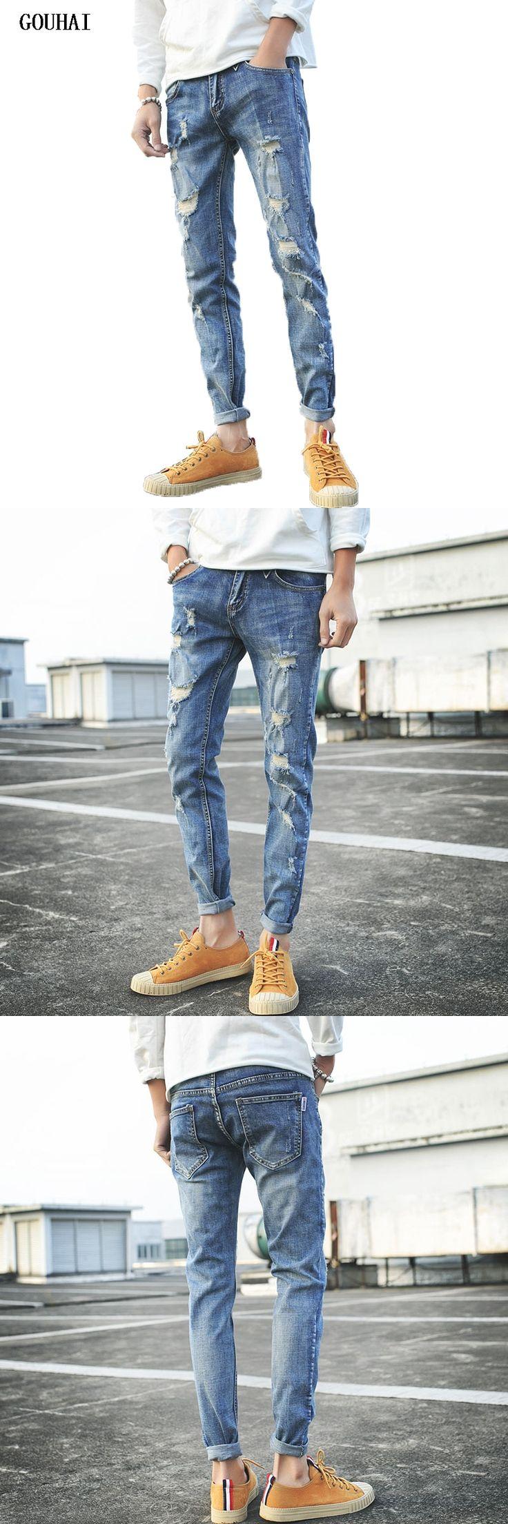 GOUHAI 2017 New Spring Hole Jeans Men Long Trousers Skinny Jeans Pants Hip Hop Clothing Zipper Jeans  Men Slim Fit Rip Jeans