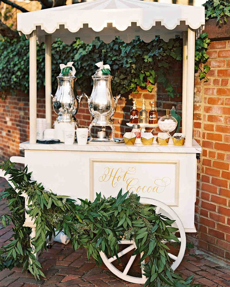 A Christmas-Themed Wedding in Washington, D.C. | Martha Stewart Weddings - Postceremony, guests were treated to a hot-chocolate cart with white and dark chocolate and all the fixings.
