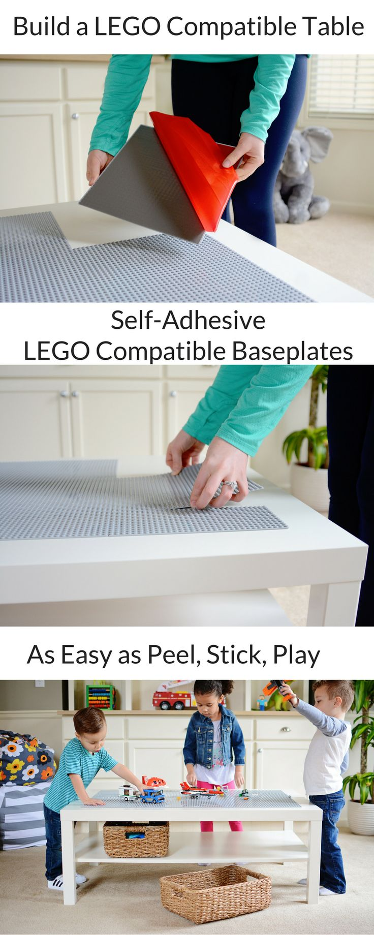 Build a DIY LEGO Compatible Table with NO GLUE REQUIRED! Self-adhesive peel 'n stick baseplates make building LEGO Compatible Tables as easy as Peel, Stick, Play!