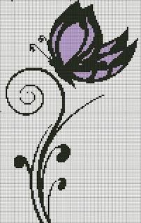 Schemi a puntocroce - donne, fiori e farfalle