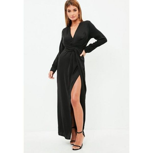 Missguided Wrap Front Shirt Maxi Dress ($94) ❤ liked on Polyvore featuring dresses, black, wrap front maxi dress, long sleeve dress, long-sleeve maxi dress, maxi dresses and wrap front dress