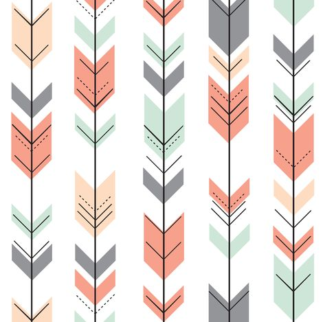 Fletching Arrows // Small Scale // Coral,Grey,Mint,Peach fabric by littlearrowdesign on Spoonflower - custom fabric