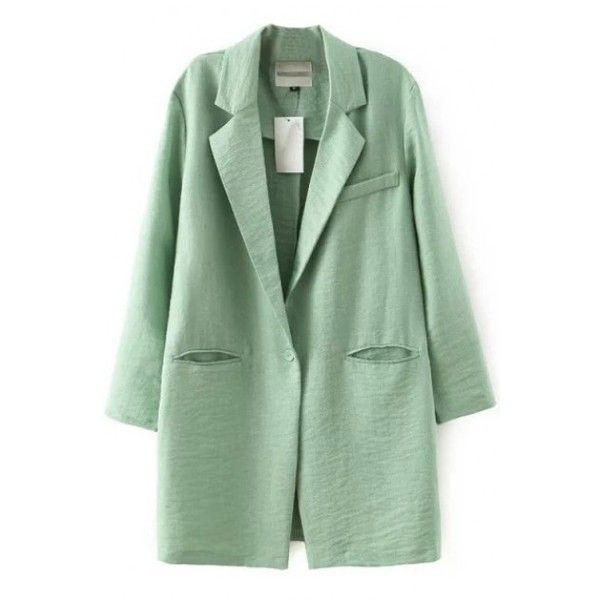 LUCLUC Mint Green Boyfriend Blazer (£21) ❤ liked on Polyvore featuring outerwear, jackets, blazers, lucluc, boyfriend jacket, boyfriend blazer, mint green jacket, mint blazer and green jacket