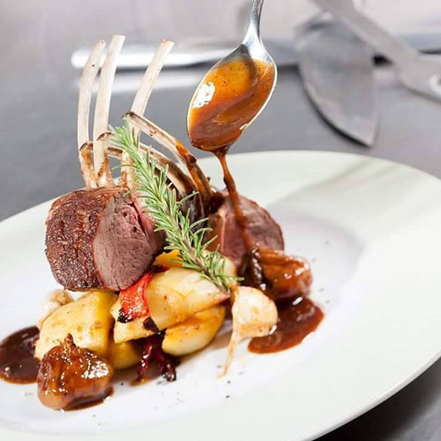 Today's #menu has crown of #lamb , with #bakedpotatoes and #chestnut in a #demiglacesauce ! Do you suggest something better than this? Photo:@ventouris_photography
