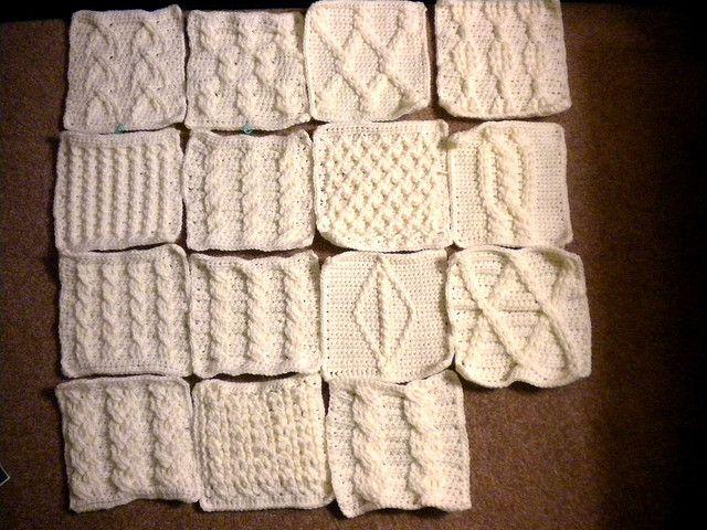 crochet cable sampler afghan