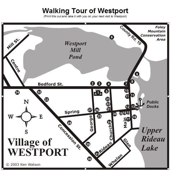 1 MUSEUM 2 TOWN HALL 3 CHURCH  4 MASONIC HALL 5 PARKING LOT  6 PEST HOUSE  7 THE COVE 8 ROBERTS' HOUSE  9 ORIGINS OF WESTPORT  10 LOCKWOOD'S HOUSE 11 CAWLEY'S & DARBY'S HOUSES 12 BENNETT'S STORE 13 MCEWEN BUILDING 14 SPRING 15 POST OFFICE  16 FOLEY HOUSE  17 BOWES & COCKS / SALON  18 VISITOR CENTRE  19 LIBRARY  20 CHURCH  21 TURNBULL'S FIND  22 VICTORIAN REFLECTION  23 CONLEY HOUSE 24 CHURCH 25 HAMILTON HOUSE  28 COMMUNITY CENTRE 30 RAILWAY STATION  31 & 32 SCHOOLS  26, 27, 29, 33, 34…