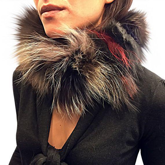 Women Fox Fur Scarf, fur headband, Elastic knitted REAL fox fur scarf or muffler #Furheadband #Genuinefur #Furaccessories #diademadepiel #pielgenuina #accesoriosdepiel