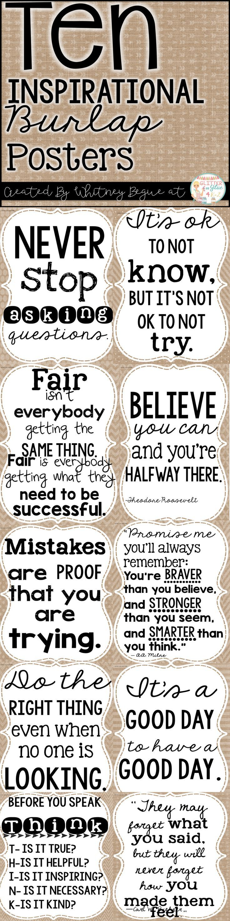 Looking for something inspirational to brighten up your classroom? These posters include ten of my favorite classroom quotes. Easy, inexpensive, and a fun way to decorate your classroom! Keywords: shiplap, farmhouse classroom, burlap, watercolor, teachers, chalk theme classroom , burlap classroom, rustic classroom, farmhouse decor,  classroom inspiration, inspirational quotes, positive classroom, growth mindset