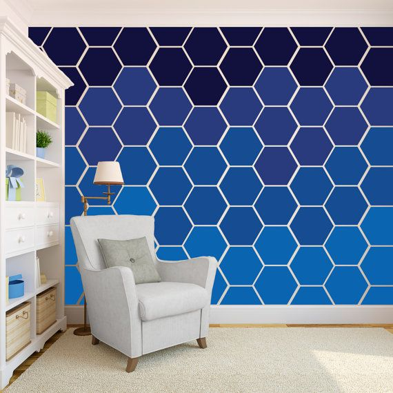 Hexagon Honeycomb Wall Pattern Decals - Wall Decal Custom Vinyl Art Stickers orange and black on pink wall