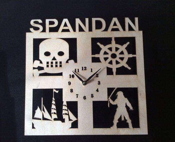Pirate wall clock,Personalized wall clock,Kids wall clock,laser cut clock,large wall clock,Personalized gift,wood clock,clock,wall clock
