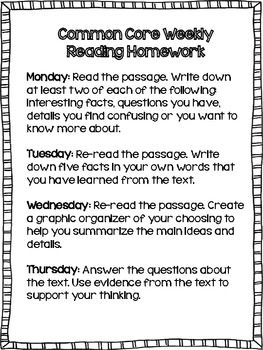 Common Core weekly reading homework...perfect for close reading strategies!