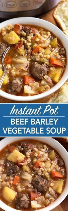 Instant Pot Beef Barley Vegetable Soup is Nana's recipe and tastes like home. Hearty and comforting, with lots of flavor! simplyhappyfoodie.com #beefbarleysoup #instantpotrecipes #instantpotsoup #instantpotbeefbarleysoup