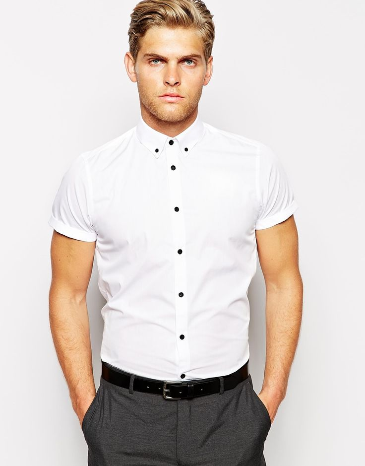 asos smart shirt in short sleeve with button down collar and