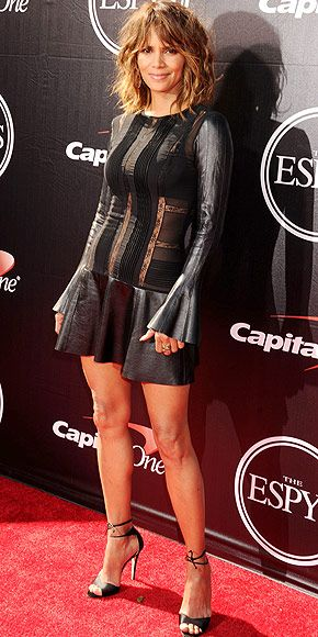 Last Night's Look: Love It or Leave It? Vote Now!   HALLE BERRY   in a flirty leather long-sleeve LBD featuring a flared skirt and sheer cutouts, with Sylva & Cie jewels and Brian Atwood ankle strap sandals at the 2015 ESPYs.