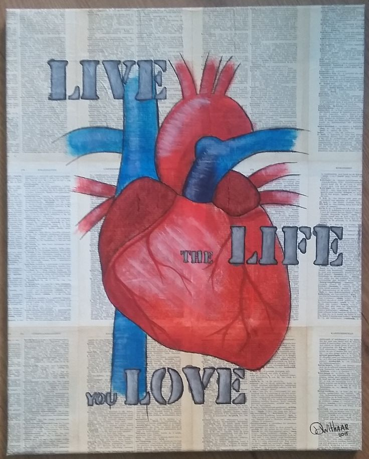 Live the life you live. Anatomical heart with large vessels on a background of old dictionary pages.