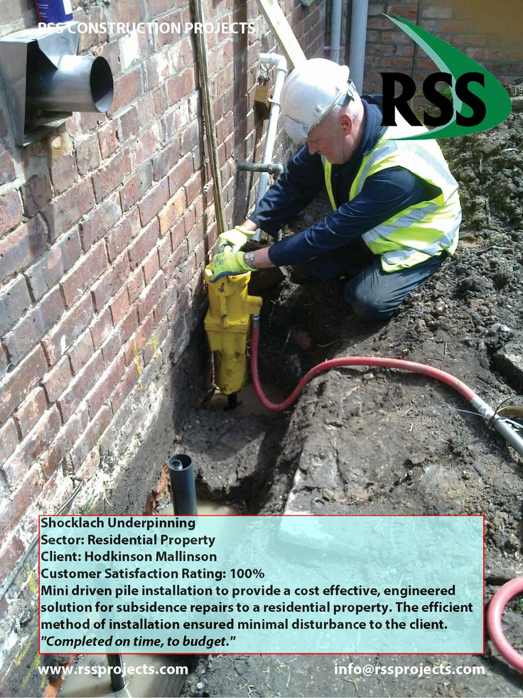 Shire piles installation to provide a cost effective, engineered solution for subsidence repairs to a residential property. The efficient method of installation ensured minimal disturbance to the client. http://www.rssprojects.com/Case Studies/shocklach-underpinning
