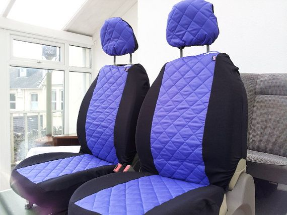 Padded Purple waterproof car seat covers: car front by funkmyseat