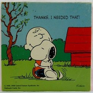 Charlie Brown And Snoopy Hugging. I could always use a hug from Snoopy!!