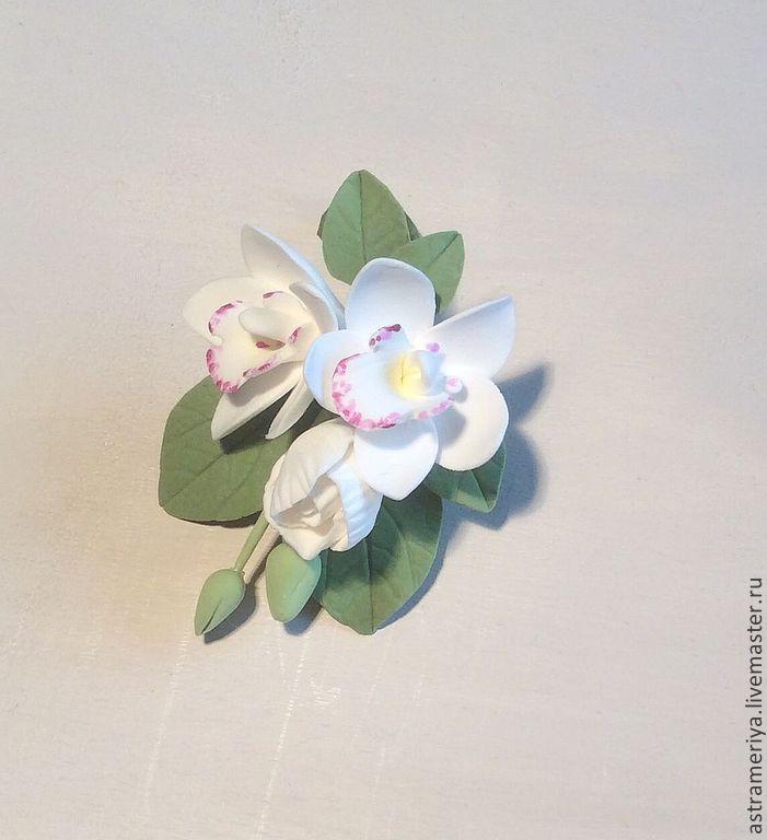 Купить Брошь бутоньерка из полимерной глины Белые орхидеи - белый, бутоньерка, брошь