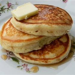 Old-Fashioned Pancakes ~ Anybody can add water to a boxed pancake mix, but you're better than that! These pancakes are not too thick, not too thin, but tender, light, buttery, and delicious.