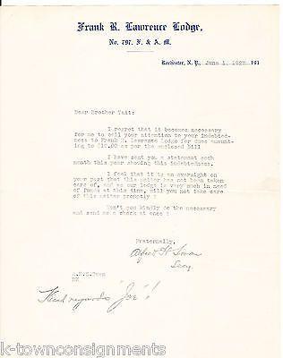 FRANK R. LAWRENCE LODGE ROCHESTER NY FREEMASON SIGNED STATIONERY LETTERHEAD 1927