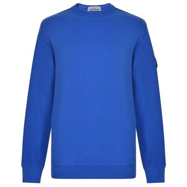 STONE ISLAND Crew Neck Sweatshirt ($205) ❤ liked on Polyvore featuring tops, hoodies, sweatshirts, crewneck sweatshirt, blue crew neck sweatshirt, cotton sweatshirts, sleeve top and long sleeve tops