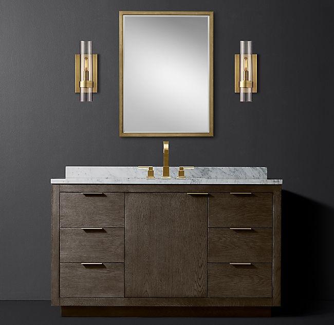 Larsen Oak Single Extra Wide Vanity Vanity Storage Mirror