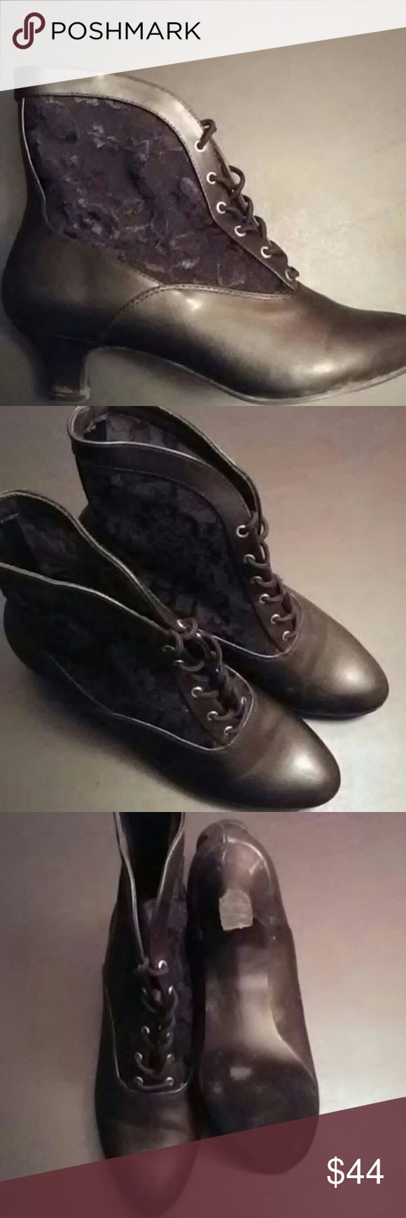 "Victorian Lace Booties Stunning Black victorian style lace up bootie with 2"" heel. Very comfy and true to size. Wore a couple of times. In great condition, no stains or tears. Funtasma Shoes Ankle Boots & Booties"