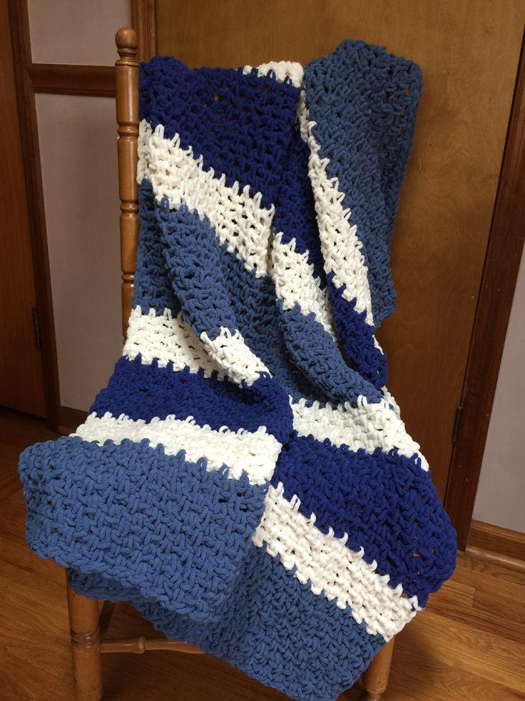 Blue and White Striped blanket for mom.  Used Bernat Blanket yarn