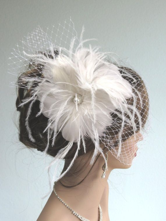 SALE Feather Wedding Headpiece with Bridal by BridalWorldAccessory