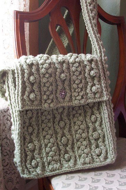 Bobbling Along Aran Tote - Free Crochet Pattern by Celeste Young Designs Messenger bag style!