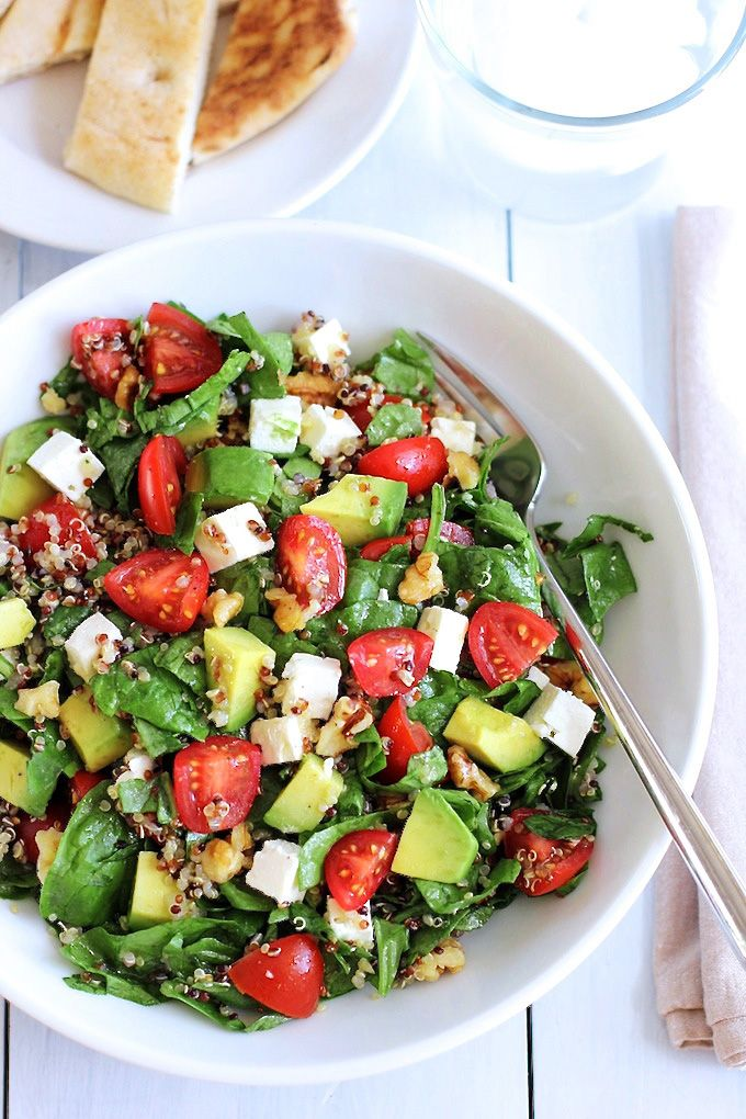 Quinoa salad with avocado, cherry tomatoes and feta. A healthy, light but filling summer salad featuring quinoa, avocado, cherry tomato and feta cheese.