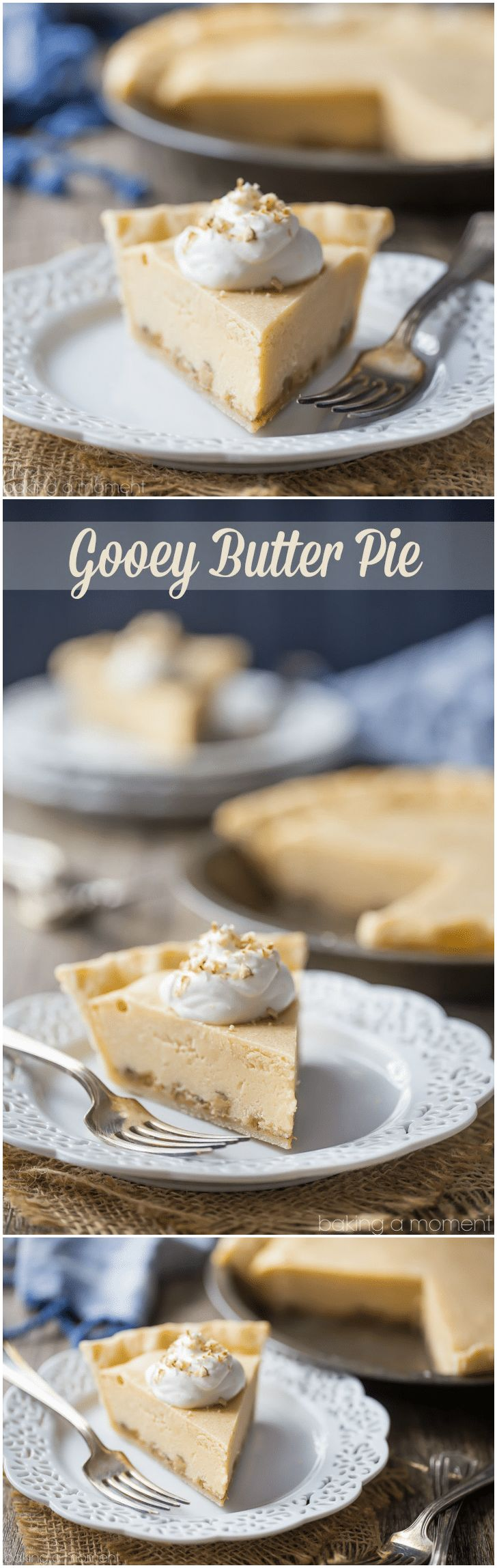 Gooey Butter Pie: Buttery brown sugar custard, salted caramel, and crunchy pecans, cradled in the flakiest ever pie crust!  food desserts pie #ad @White Lily via @Allie Baking a Moment
