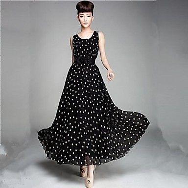 LIANGMEIYUE™ Women's Fashion Black-white Dots The Land Chiffon Vest Dress – USD $ 23.99
