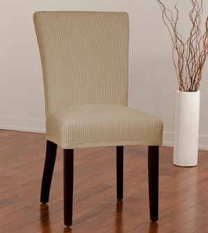 Montgomery II Mink Dining Chair Slipcover. Deeply embossed box pattern with a soft luscious surface, beige form fit slip cover upholstery, living room, beautiful interior design, chic home decor