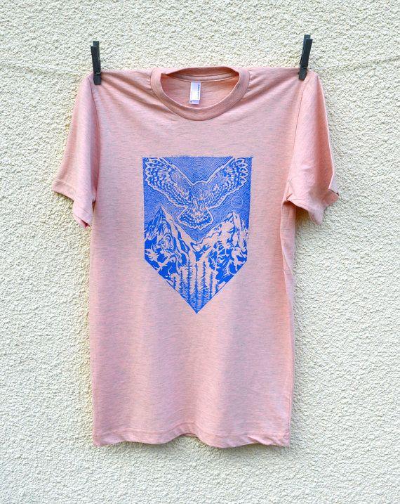Twin Peaks inspiriert Eule Wald Mountain T-shirt Linolschnitt Abbildung Herren Damen unisex rosa blau XS extra klein UK 8 10 American Apparel