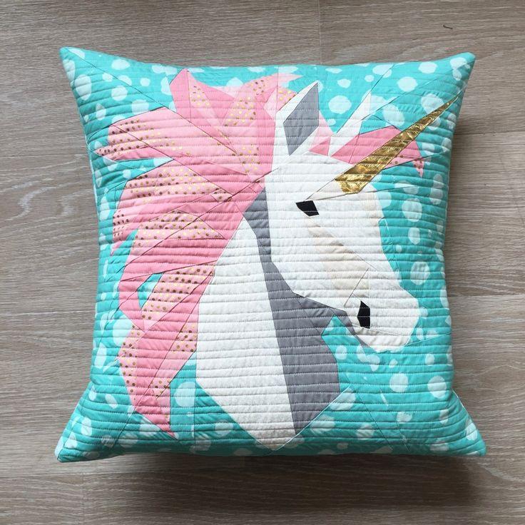 Kissen Foundation Paper Piecing Unicorn nach einem Pattern von Quitplay