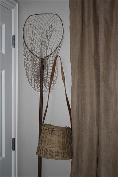 Fishing net and basket for boys room