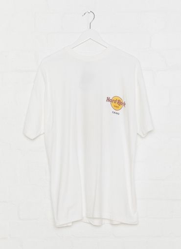 Vintage Hard Rock Hollywood Tee - Hard Rock Cairo (Xl) - White [Follow us: @Peppermayo for more cuteness and daily fashion inspo.]
