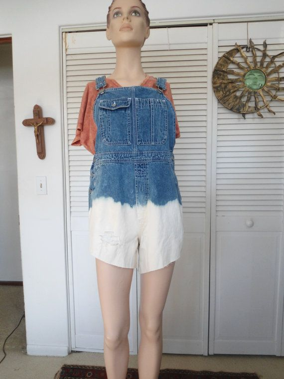 Size Medium Womens Bleached Bib Overall Shorts by LandofBridget